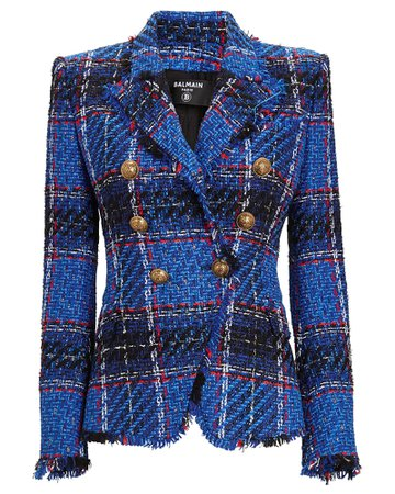 Balmain Double-Breasted Tartan Tweed Blazer | INTERMIX®