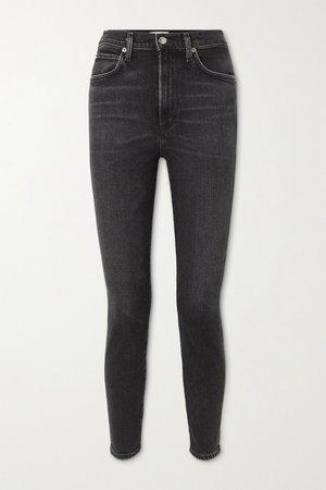 Black Pinch Waist high-rise skinny jeans   AGOLDE   NET-A-PORTER