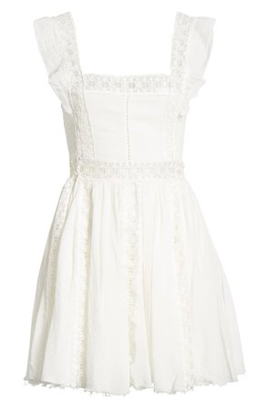 Free People Verona Lace Trim Minidress ivory