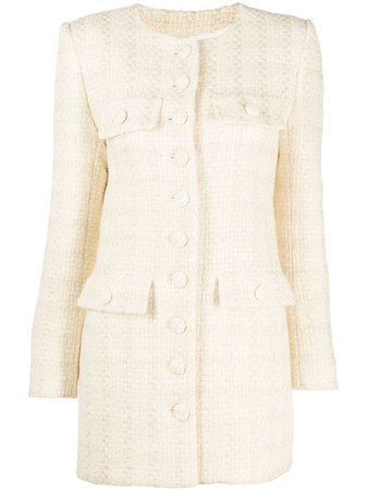 Shop Saint Laurent longline tweed jacket with Express Delivery - Farfetch