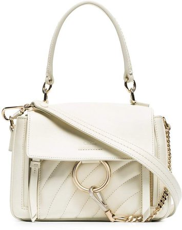 white faye day mini quilted leather shoulder bag