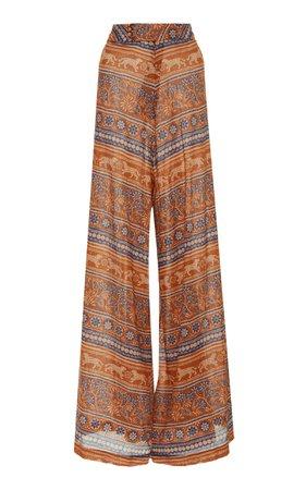Johanna Ortiz Exclusive Egyptian Conceptuality Printed Broadcloth Wide-Leg Pants