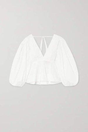 Carlenne Ruffled Cotton-poplin Blouse - White