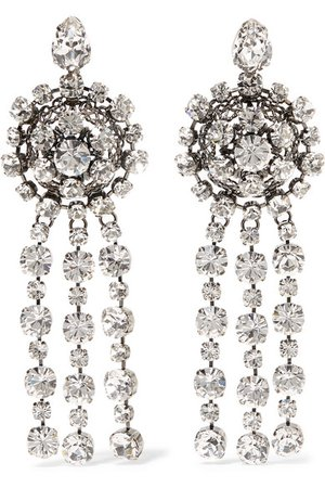 Gucci | Silver-plated crystal earrings | NET-A-PORTER.COM