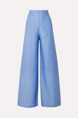 Pamela Linen Wide-leg Pants - Blue