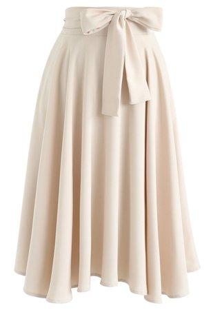 Chic Wish Flare Hem Bowknot Waist Midi Skirt in Light Tan - Retro, Indie and Unique Fashion
