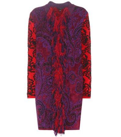 Jacquard wool-blend cardigan