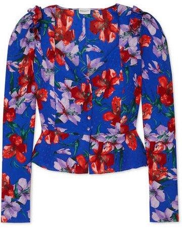 Evora Floral-print Silk-satin Blouse - Blue