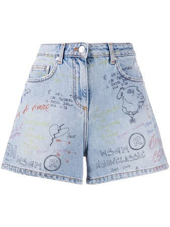 MSGM Graffiti Denim Shorts - Farfetch