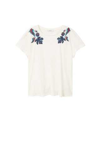 Violeta BY MANGO Embroidered linen-blend t-shirt