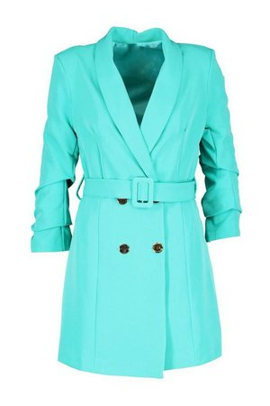 Ruched Sleeve Breasted Belted Blazer Dress | Boohoo