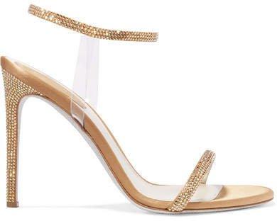 Crystal-embellished Satin And Pvc Sandals - Gold