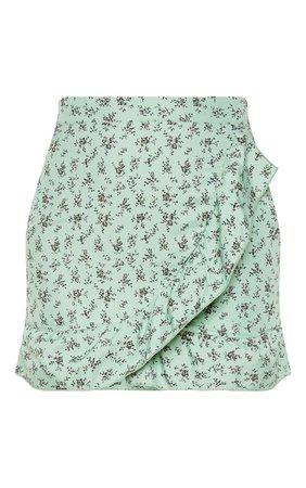 Sage Green Floral Print Frill Hem Wrap Mini Skirt | PrettyLittleThing