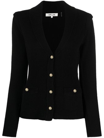 Shop black DVF Diane von Furstenberg V-neck tailored cardigan with Express Delivery - Farfetch