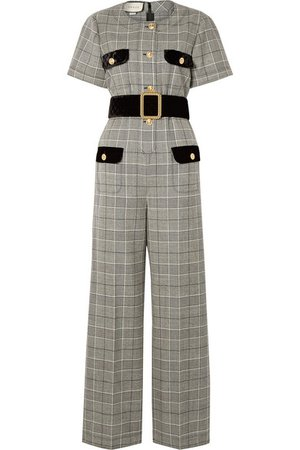 Gucci | Belted velvet-trimmed Prince of Wales checked wool jumpsuit | NET-A-PORTER.COM