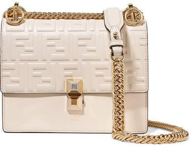 Kan I Small Embossed Leather Shoulder Bag - Off-white