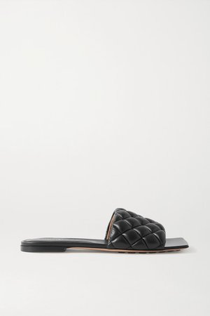 Quilted Leather Slides - Black