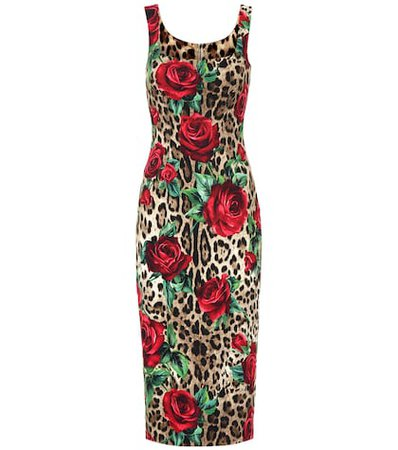Leopard and floral-printed dress