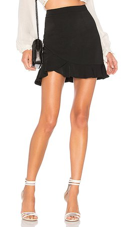 REVOLVE ruffle black mini skirt