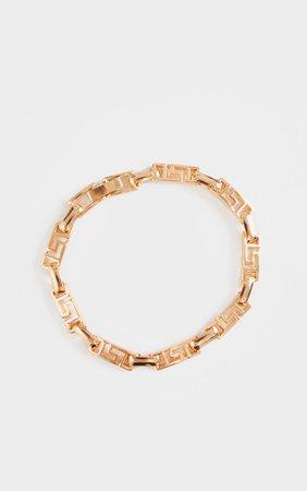 Gold Greek Key Link Bracelet | PrettyLittleThing USA