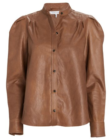 FRAME Charlie Puff Sleeve Leather Shirt   INTERMIX®