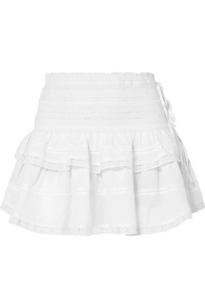 LoveShackFancy | Mira shirred crochet-trimmed cotton mini skirt | NET-A-PORTER.COM