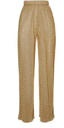 Lumiere Stretch-Lurex Straight-Leg Pants