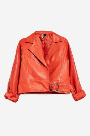 Red Leather Cropped Jacket - Jackets & Coats - Clothing - Topshop