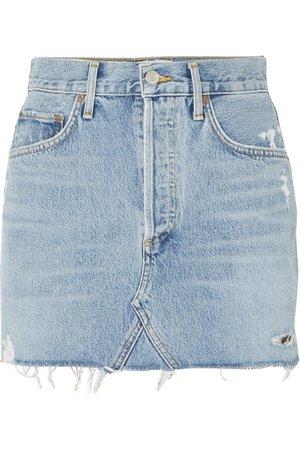 AGOLDE | Quinn distressed denim mini skirt | NET-A-PORTER.COM