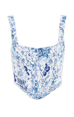 Clothing : Tops : 'Versaille' Blue + White Print Corset