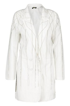 Diamante Fringed Trim Double Breasted Blazer Dress | Boohoo