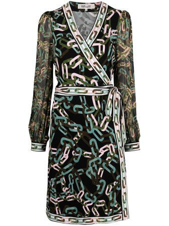 Shop black & pink DVF Diane von Furstenberg Gala jersey wrap dress with Express Delivery - Farfetch