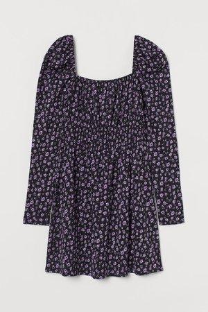 Short Puff-sleeved Dress - Black