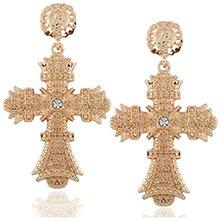Amazon.com: Cross Earrings, Gold Big Baroque Drop Earrings, Rhinestone Large Cross Earrings, Retro Court Earrings for Women Girls Teen Halloween Boho Gifts: Clothing