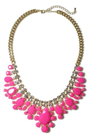 Necklace neon pink crystal