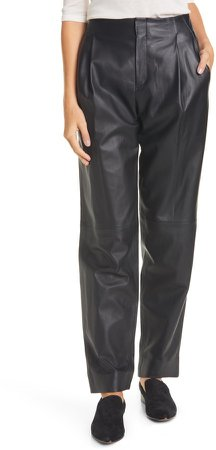 Pleat Front Tapered Leather Trousers