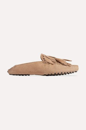 Gommino Embellished Fringed Suede Slippers - Brown