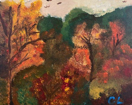 art painting autumn over the garden wall