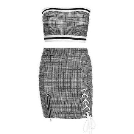 Side Stripes Plaid Tube Crop Top Lace-up Skirt Set – Lupsona