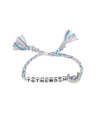 Blackheart Pink And Blue To The Moon Block Letter Braid Bracelet | Hot Topic