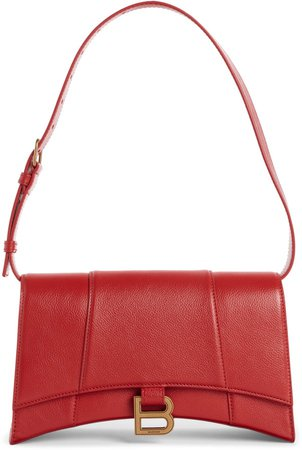 Small Hourglass Sling Leather Shoulder Bag