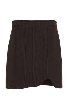 Ganni Plaid Stretch Knit Mini Skirt