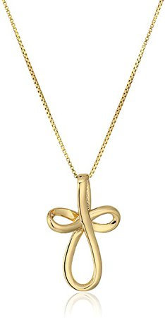 """Amazon.com: Rose Gold-Plated Sterling Silver Open Loop Cross Pendant Necklace, 18"""": Jewelry"""