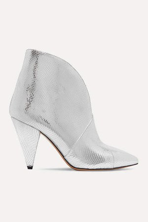 Archenn Metallic Lizard-effect Leather Ankle Boots - Silver