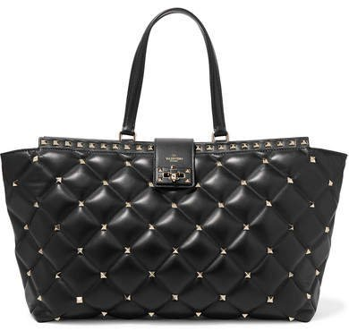 Garavani Candystud Quilted Leather Tote - Black