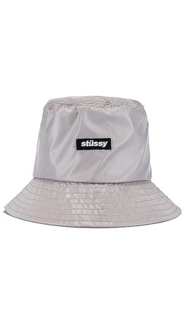 Stussy Langley Shiny Bucket Hat in Grey | REVOLVE
