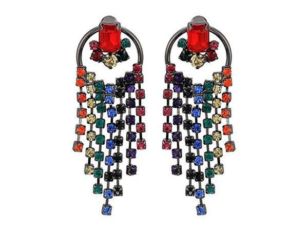 Steve Madden Rainbow Fringe Circle Post Earrings