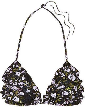 Ruffled Floral-print Triangle Bikini Top - Black