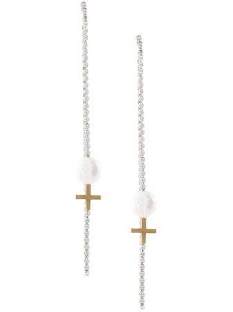 Le Chic Radical Cross Drop Pearl Earring