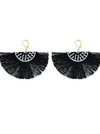 Black Handmade Ethnic Jewelry Boho Style Fan Shaped Earrings